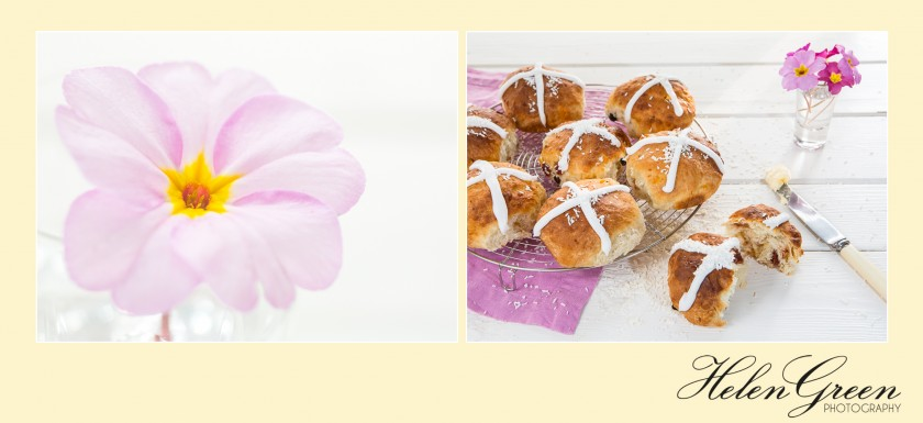 primrose and cherry and coconut hot cross buns
