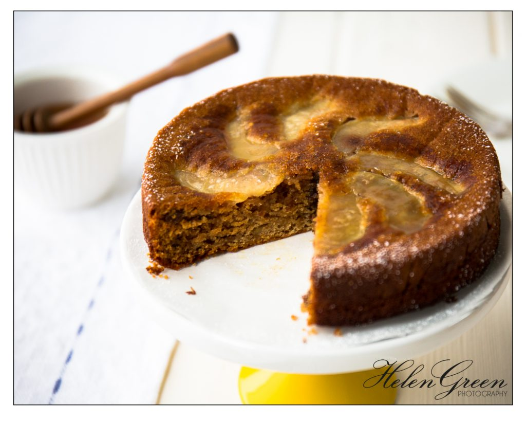 Helen Green Honey and Apple cake with slice cut out