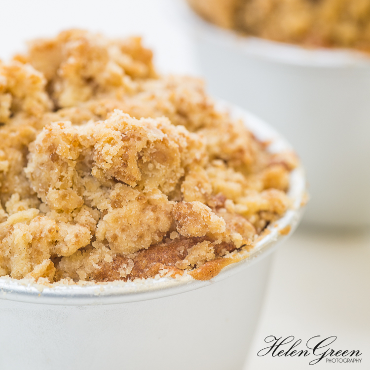 close up of apple crumble cake by helen green photography