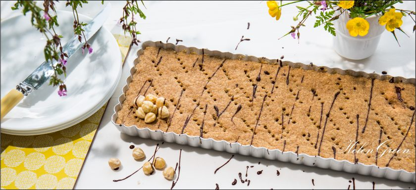 Huge Wholemeal Hazelnut Shortbread in oblong tin by Helen Green Photography