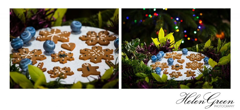2 photographs of gingerbread biscuits at Christmas by Helen Green Photography