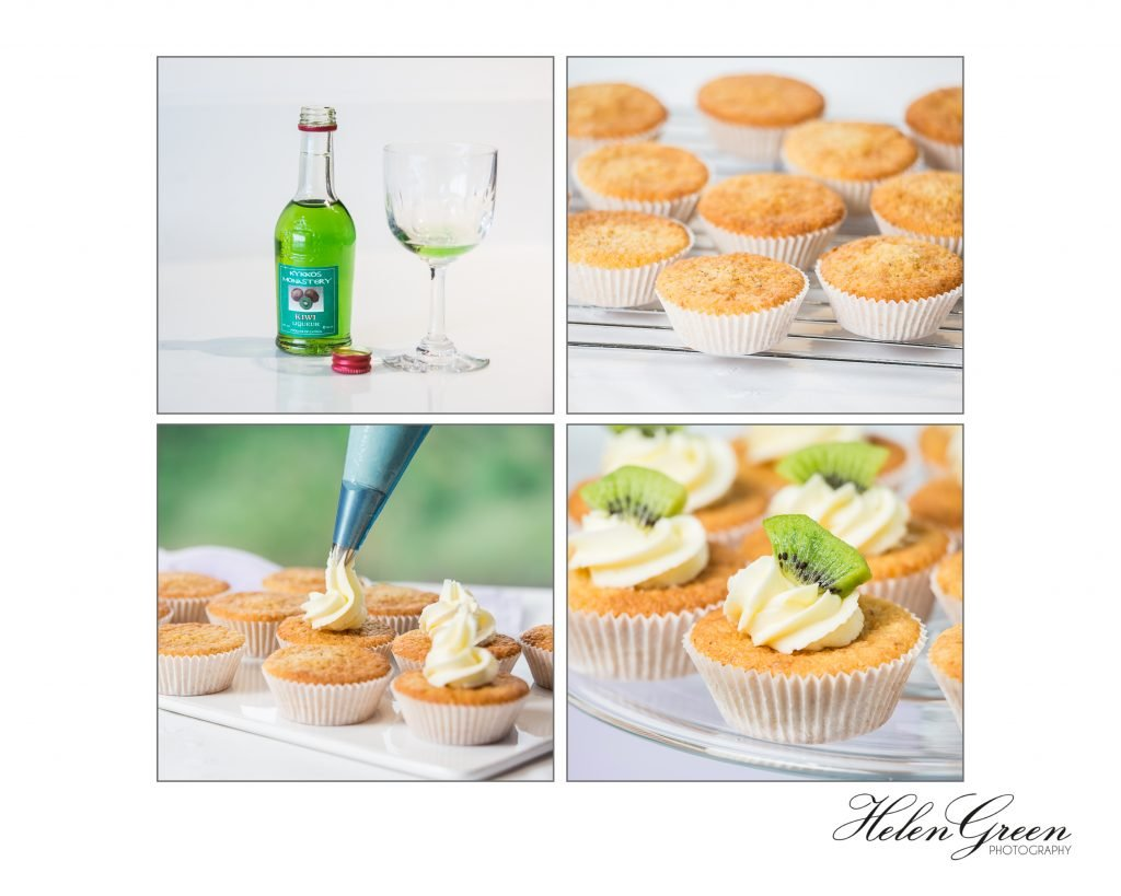 4 images of making kiwi and hazelnut cakes